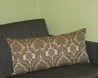 "Beige - Grey - Brown - Lumbar pillow -Tapestry - Handmade - Throw pillow  - Cushion - Cover - 33 cm x 69 cm (13"" x 27"")"