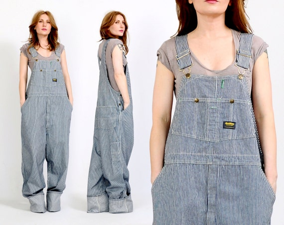 Vintage Oshkosh Engineer Striped Overalls Denim Jean 80s