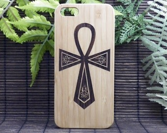 Ankh Symbol iPhone 6 Plus or iPhone 6S Plus Case. Egyptian Religion Spiritual Hieroglyph Metaphysical Symbol Eco-Friendly Bamboo Wood Cover.