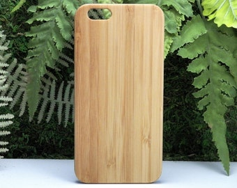 Custom iPhone 7 Plus Case. Personalized Plain Bamboo Cover. Add Logo Name Words Graphic Image Picture. Eco-Friendly Wood. iMakeTheCase brand