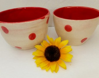 Red Spotted Ceramic Nesting Bowl Set, Mixing Bowls, Wild Crow Farm Pottery