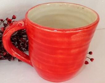 Red Ceramic Coffee Mug with White Interior
