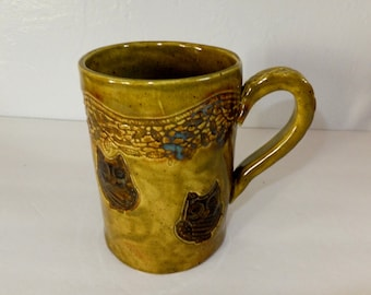Large Olive Green Owl Coffee Mug with Lace