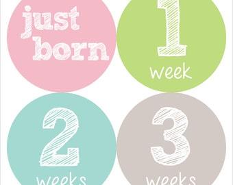 Newborn Baby Stickers, Baby Milestone Stickers, Baby Stickers - Blue, Green, Baby Girl, Pink, Grey, Baby Shower Gift - NEWBORN SET
