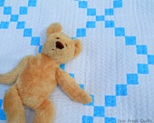 Baby crib Quilt for sale, traditional design, baby boy bedding, handmade blanket, patchwork, blue and white.