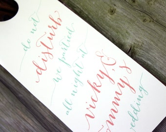Hotel Wedding Door Hanger - Calligraphy, Hand Written