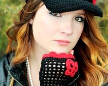Black Crochet Women Hat and fingerless gloves, Handmade Teen Hats with red, woman Cap , Beanie flower