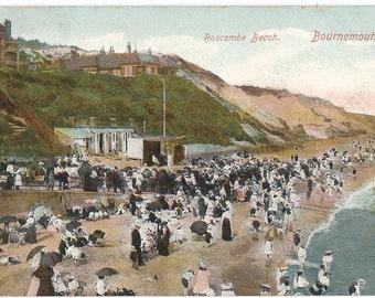 Boscombe Beach, Bournemouth, England, Photo Postcard, c. 1910
