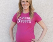 CLOSEOUT! - MEDIUM - Gender Reveal 5 Months Sober Maternity Tee - Pink