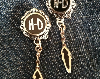 Silver  Harley Davidson - 'HD /Onyx & Feather' - post earrings