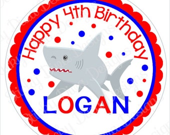 PERSONALIZED STICKERS - Custom Shark Boy Birthday Personalized Labels -  Gloss Labels