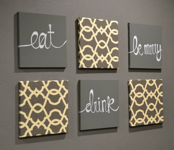 Eat Drink amp Be Merry Wall Art Pack Of 6 Canvas By