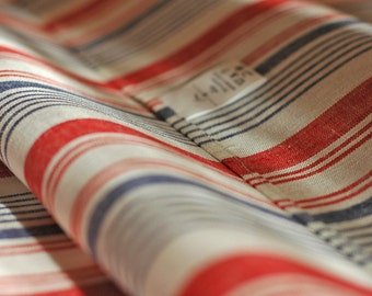 """Set of 2 White Red Blue Color Linen Towels, Kitchen Towels, Stripe woven Dish Towels, French Vintage Stripe Woven Towels (27,6.""""x19,7"""")"""