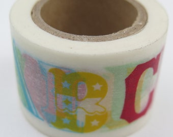 Washi Tape - Single Roll - Mixed Font Alphabet - Bright colors - 30mm