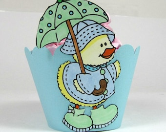 Duck Cupcake Wrappers, Animal Cupcake Wrappers, First Birthday Party Cupcake Holder, Baby Shower Decor, Baby Boy Shower Duck Cupcake