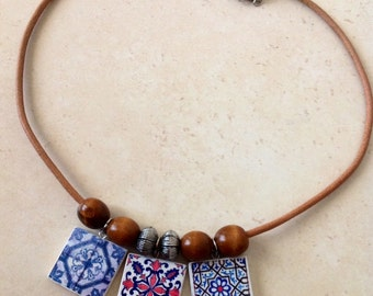 Necklace with Portuguese Tile Replica, and Wooden Beads.