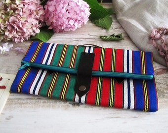 Free Fast Shipping/Bohem clutch/Ethnic Woven Traditional Fabric and Blue Cotton Clutch /Daily Vintage Design Clutch with Leather and Studded