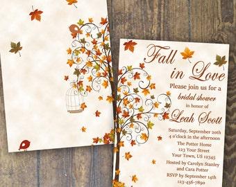 Fall Bridal Shower Invitation Fall in Love Invite Falling in Love Invitation custom printable digital