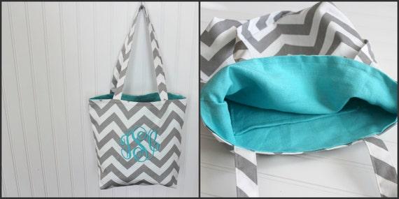 Beach Wedding Bridesmaid Gifts: Monogrammed Chevron Tote Bag Bridesmaid Gift Beach Bag