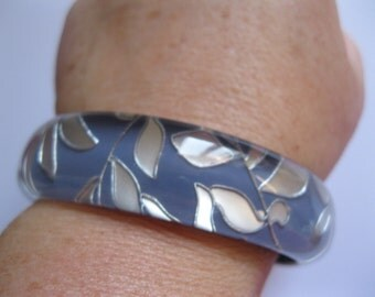 pretty blue and silver funky plastic bangle