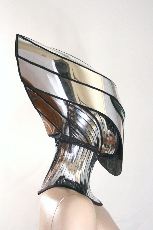 2 piece alien cyborg mask headpiece robot armor sci fi