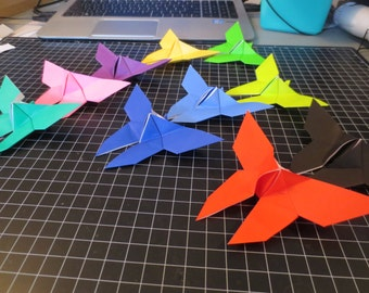 100 Small Solid Color Origami Butterflies