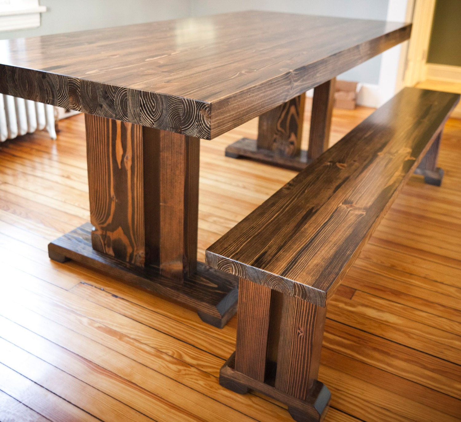 8ft butcher block style table solid wood farmhouse by for Solid wood dining table