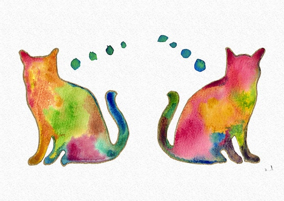 watercolor cat cat silhouette colorful art cat by ...