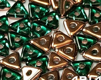 EMERALD CAPRI GOLD: Tri-Bead Czech Glass Triangle Bead, Sequin or Spacer, Reversible 4mm (5 grams)