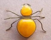 Vintage Amber Brooch. Amber Beetle. Pressed Amber.
