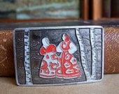 Girls in Russian clothes. Gorgeous Vintage Brooch. Russian Style. Dancing girls. Russian Folk art. Sarafan.