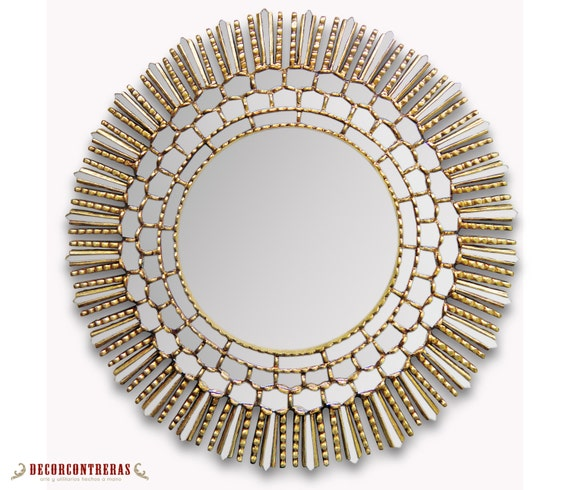 Large decorative round wall mirror cuzco style by for Large round decorative mirror