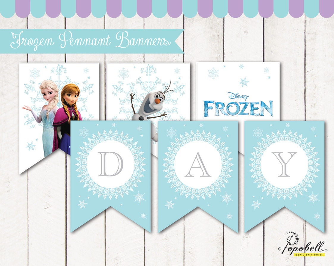 Frozen Birthday Banner: Frozen Pennant Banners With Happy Birthday Text