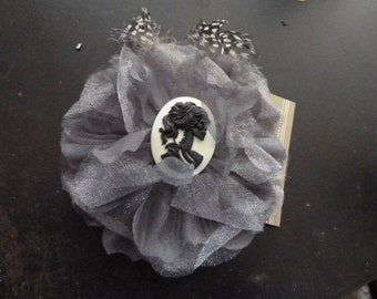 DARLING handmade lace large flower barette with a skeleton female  cameo center