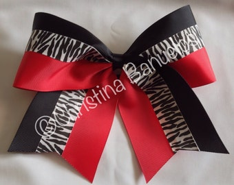 "Red Black Zebra Cheer Bow 3"" Wide Base - #184431332"