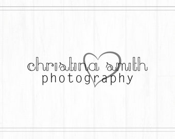 Heart Logo Design, Heart Logo Branding, Font Logo, Premade Photography Watermark, Logo with Bold Heart, L026