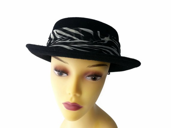 vintage hat womens bowler zebra animal print