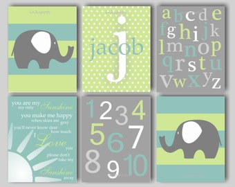 Elephant Nursery Bedding Decor Elephant Nursery Art Elephant Wall Art Alphabet ABC Nursery Decor You Are My Sunshine Choose Colors EH5801