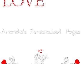 12x12 Personalized Scrapbook  Paper (Boy Meets Girl)