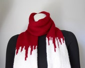 Zombie Apocalypse Scarf, Blood Red and Ivory Scarf, Vampire Tourniquet Scarf, Halloween Costume, Vampire Victim, Zombie Costume, Mens Scarf