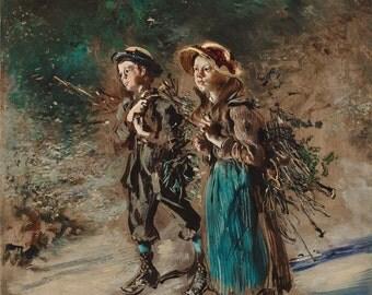 "Anton Romako : ""Children with Brushwood (Kinder mit Reisig)"" - Giclee Fine Art Print"