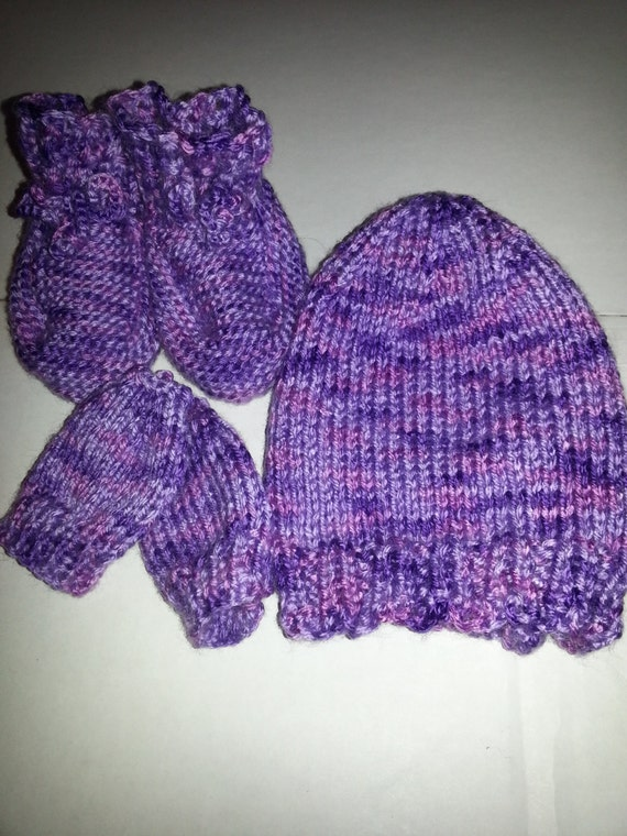 Hand Knit Baby Set Hat Thumbless Mittens and by 2KnitChicks