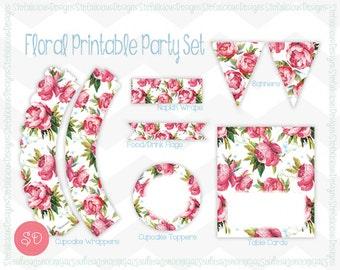Pink Rose Floral Party Printable Set [Instant Download]