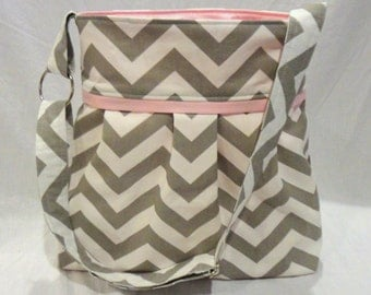 Grey Chevron diaper bag with WATERPROOF lining.  Bottle pockets with choice of lining color.