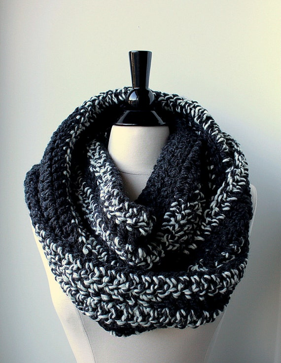 Chunky grey and white crochet infinity scarf 100% wool