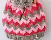 AUDEN: Handknit hat, hot pink, white and pink stripes, pompom, large child/teen/adult size