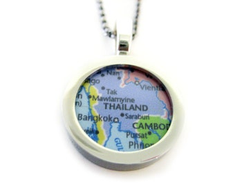 Thailand Map Pendant Necklace