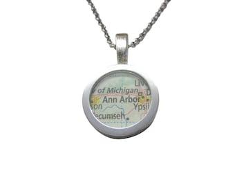 Ann Arbor Michigan Map Pendant Necklace