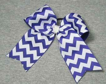 Big Cheer Bow - Large Purple and White Hair Bow in a Chevron Stripe Pattern