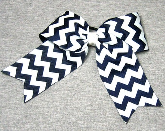 Big Cheer Bow - Large Dark Navy and White Hair Bow in a Chevron Zig Zag Stripe Pattern